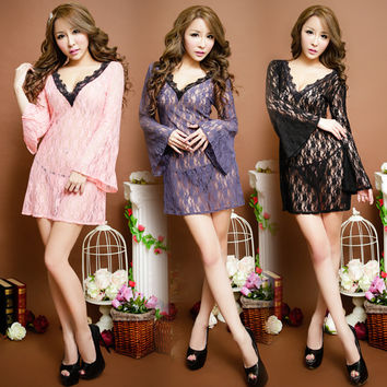 Hot Deal On Sale Cute Elegant 3-color Chiffon Sexy Exotic Lingerie [4933175364]