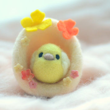 Soft sculpture chick in egg shape nest, orange color wool egg with butterfly and yellow chick / bird, needle felted chick & egg home decor