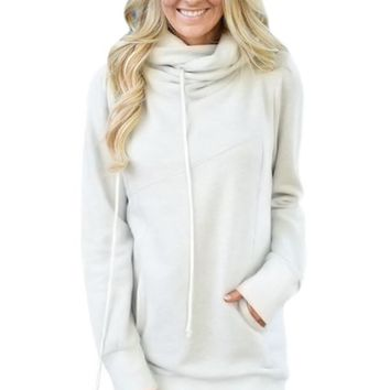 Chicloth White Funnel Neck Long Sleeve Pocket Hoodie