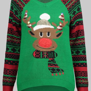 Wipalo Women Plus Size V Neck Elk Ugly Christmas Sweater Geometric Print Sleeve Casual Fall Winter Warm Sweater Ladies Pullover