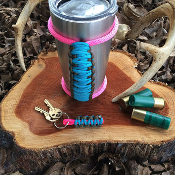 Paracord Yeti Rambler Handle Grip for 20 or 30 oz. Cobalt Blue / Brown with free matching keychain