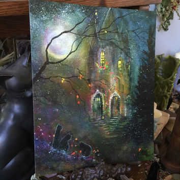 Art Print 8x10 from Original Painting Cat Girl Victorian Moon Witch Wiccan Witchcraft Cat Halloween Gothic Folk Terri Foss