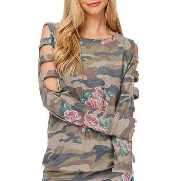 Camo and Floral Cut Out Sleeve Top