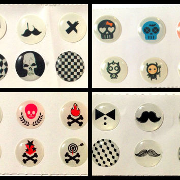 24x Skulls Mustaches Crossbones Bubble Home Button Stickers for iPhone iPad 1 2 3 4 iPad Air Mini iPod Touch Nano iPhone6 iPhone5 iPhone4