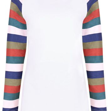 Round Neck Multi-Color Striped Raglan Sleeve T-Shirt