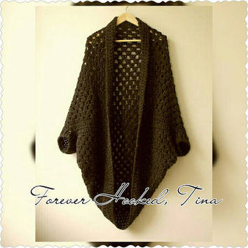 Crochet Shrug, Women's Sweater, Oversized Cardigan, One Size Fits Most