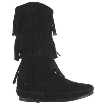 Minnetonka Triple Fringe  - Black Suede Knee-High Boot