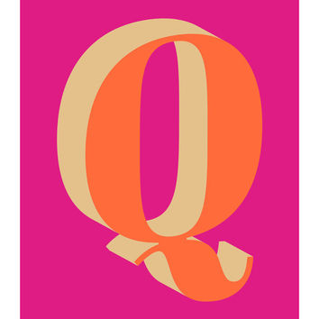 The Letter Q, Too, Original Giclee Art Print, Typography, Alphabet, Monogram, Orange, Pink, Gold