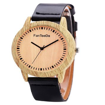 Women Simple Wooden Texture Round Dial Faux Leather Wrist Watch
