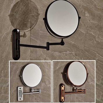 "Shipping 8"" Wall Mounted Round Magnifying Bathroom Mirror Brass Makeup Cosmetic Mirror Lady'S Private Mirrors"
