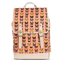 Women's Butterfly Print Backpack Handbag - Coral