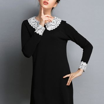 Black Scallop Lace Collar and Sleeve Mini Dress
