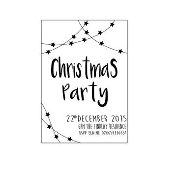 Printable Christmas Party Invitation, Customised Party Invite, Personalised Holiday Invite, Typography, Black & White, Christmas Card, DIY