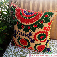 Indian Hand Embroidered Pillows Covers Suzani Cushion Cases Christmas Home Decor Gift for him or her Decorative Pillow Cover Home furnishing