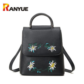 Brand Embroidered Backpack Women Leather Backpack School Bags For Teenage Girls Vintage Flower Women Backpack Travel Mochila New