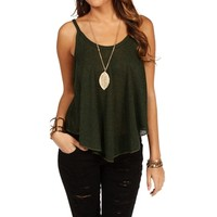 Olive Knit Shirt Tail Top