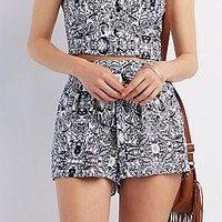 TIE FRONT PRINTED SHORTS