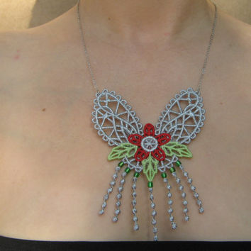Silver lace necklace Fringes necklace Fashion jewelry Elegant necklace Necklace