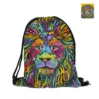 Lion Printing Drawstring Backpack For Beach School Shopping Women Men Pouch Backpack Shoulder Bag Fashion Polyster Backpack