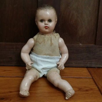 "Vintage Tiny Composition Doll With Soft Body 11"" Great Collectable Creepy Decor"