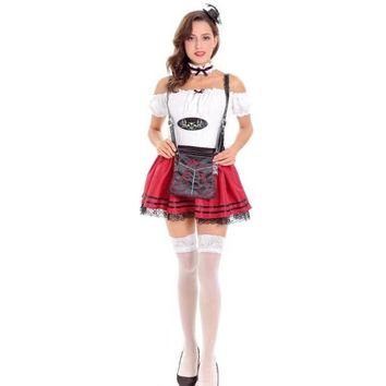 Beer Girl Beer Service Slash Neck Dress Lace Dresses German Oktoberfest Maid Cosplay Uniforms Halloween Costumes for Women