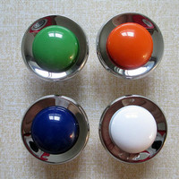 Kids Drawer Knobs / Glass Look Dresser Knob Pulls Handles White Orange Blue Green Modern Kitchen Cabinet Knobs Childrens Knob Colorful Knobs