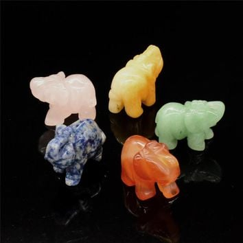 Mini Animals Figurines 1.5 inch Crystal Elephant Statue Natural Stone Carved Elephant Figurine  for Home Decor Chakra Healing