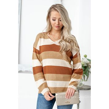 Tan Color Block V-Neck Knit Sweater