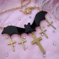 Opaque Acrylic Bat and Crosses Necklace