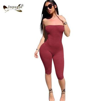 CREYCI7 Solid Simple Style Women Strapless Rompers Sexy Bodycon Women Bodysuits Skinny Jumpsuits