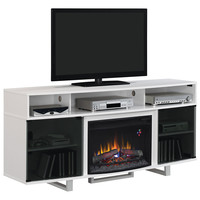 Enterprise Lite Electric Fireplace Insert Media Mantel High Gloss White Stainless Legs
