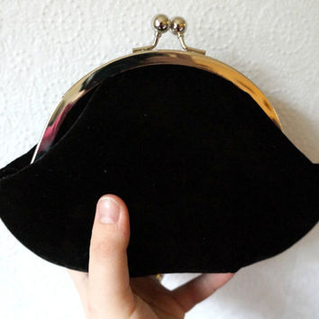 Small framed black clutch purse wristlet, black velvet clutch bag, personalized initial