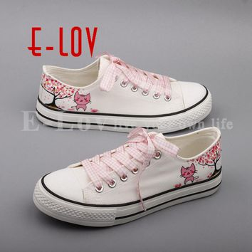 E-LOV Newest Fashion Graffiti Cats Flat Shoes Hand Drawing Animal Cat Casual Canvas Shoes For Women Couples zapatos mujer