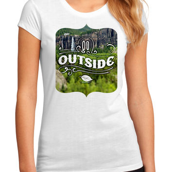 Go Outside - Beautiful Cliffs Juniors Petite Sublimate Tee by