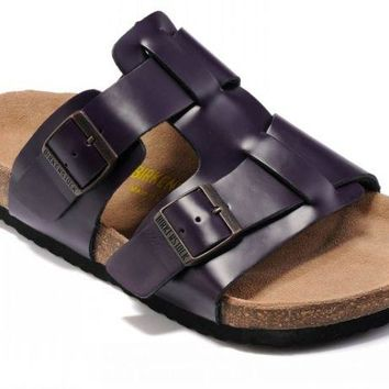 Birkenstock Riva Sandals Leather Purple - Ready Stock