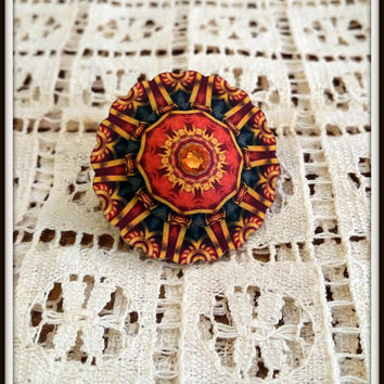 Circus Pin - Vintage Circus Pin - Vintage Style - Vintage Textile Jewelry - Circus Wheels - Big Tent Jewelry - Cirque Jewely - Plastic Pin