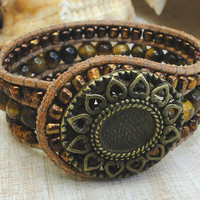 wrap leather cuff bracelet chan luu boho surfer zen earthly bead work chic style with sunflower button tiger eye gemstone glass beads