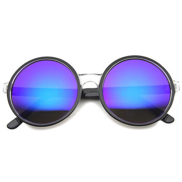 Retro Super Round Mirror Lens Oversize Sunglasses A004