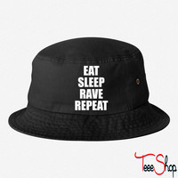 Eat Sleep Rave Repeat EDM Design 6 bucket hat