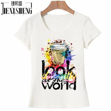 Newest fashion women t shirt multicolor Coffee cups printing t-shirt short sleeve Harajuku funny tee shirts Hipster cool tops