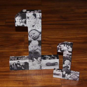 "25th Wedding Anniversary 50th 75th Engagement 12"" Photo Letter Number Picture Monogram Collage Personalize Birthday Annivesary 360' 3D Rare"