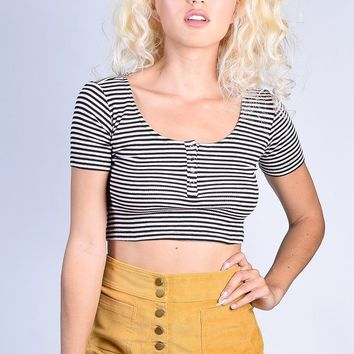 Amy Ribbed Henley Crop - Striped