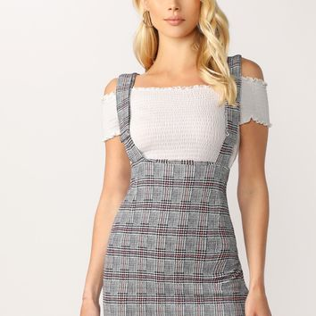 Houndstooth Plaid Suspender Mini Skirt