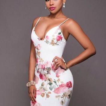 Strappy Floral Printed Women's Party Dress