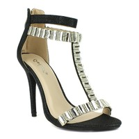 Celeste Wendy-05 T-strap Dress Sandal in Black @ ippolitan.com