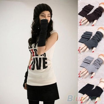 Women's Fashion Knitted Arm Fingerless Long Mitten Wrist Warm Winter Gloves = 1958000196