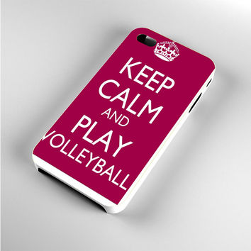 Keep Calm Play On Volleyball Purple iPhone 4s Case