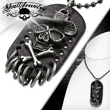 """Skull Cowboy Leather Necklace w/24"""" chain (c072)"""