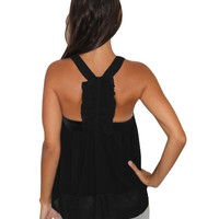 Ruched Back Black Top