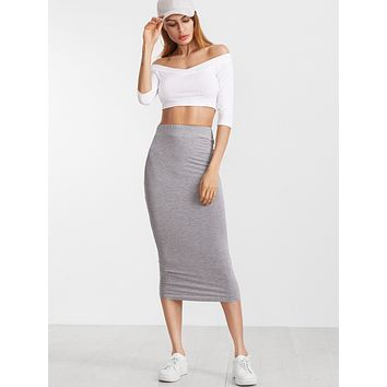 Elastic Waist Midi Pencil Skirt